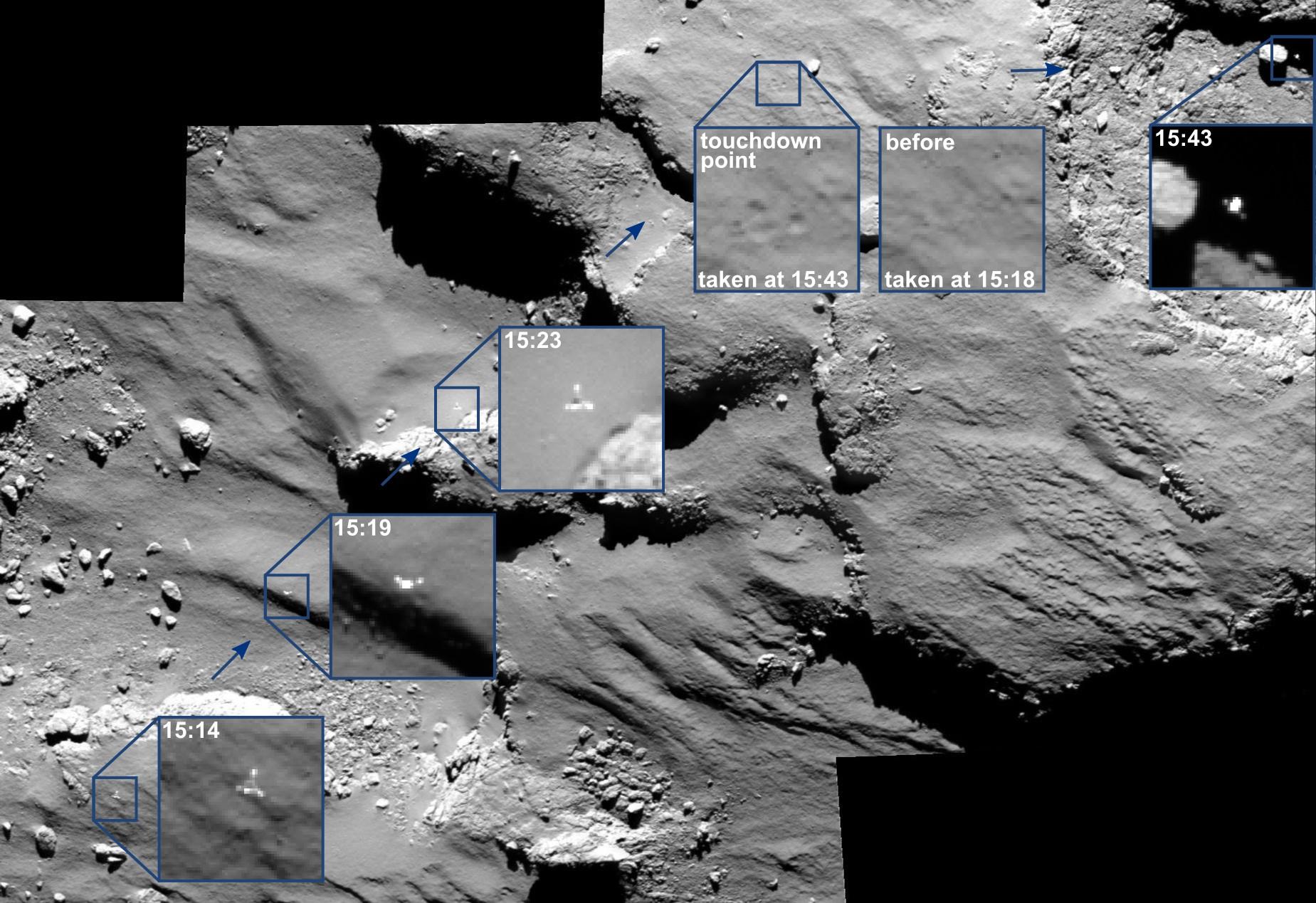 OSIRIS_spots_Philae_drifting_across_the_comet